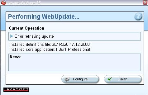 Ad-Aware SE Integrated WebUpdate Tools window